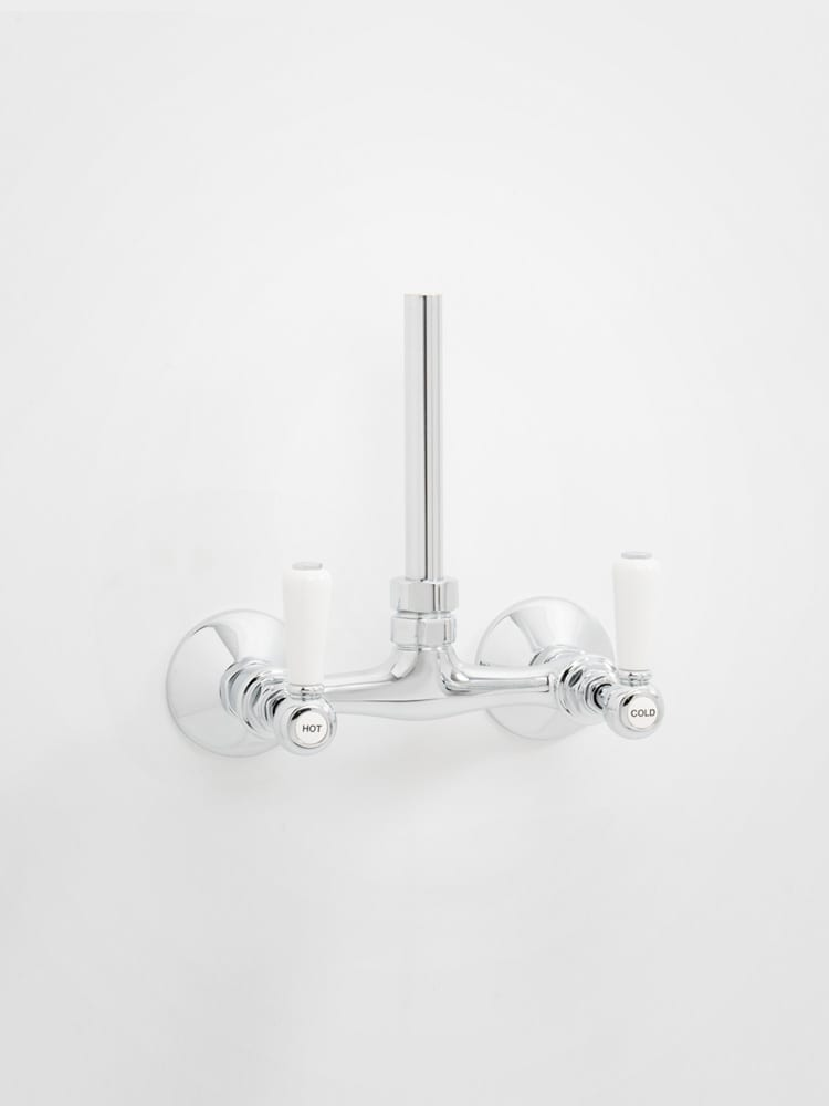 Britannia exposed bridge shower mixer - white levers - Home