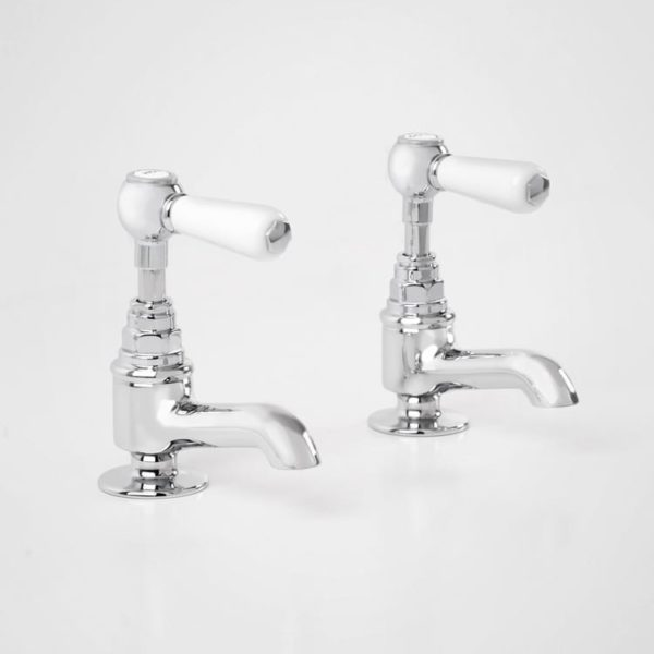 Britannia basin pillar taps with white levers