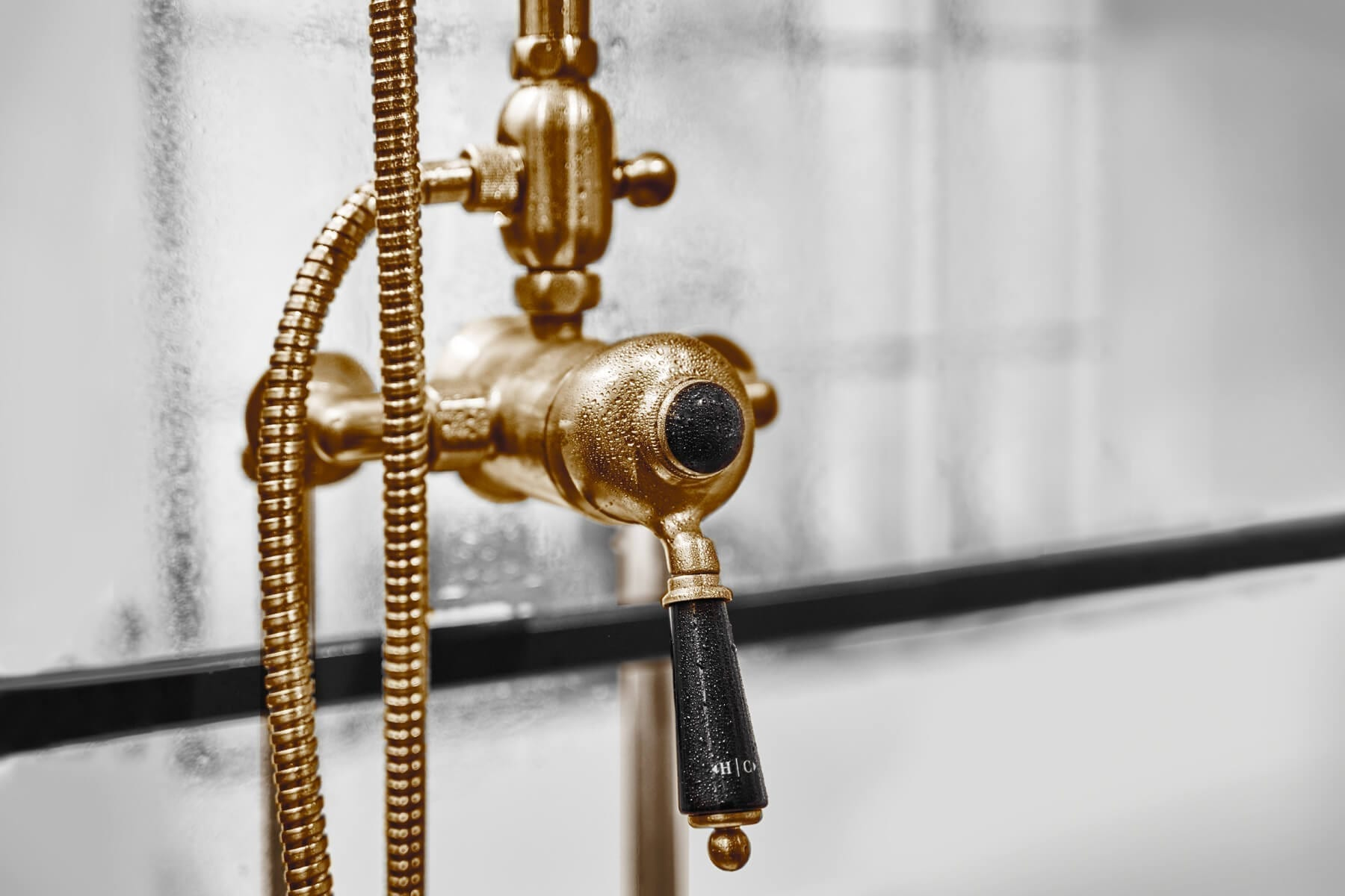 brushed brass shower mixer