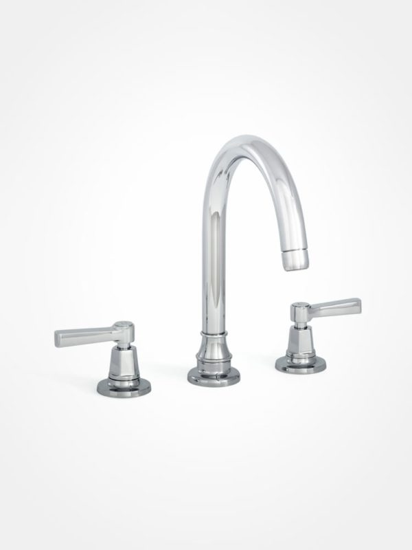 arté modern large basin mixer with curved spout and square lever