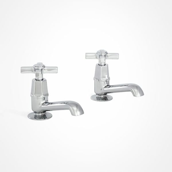 arté modern basin pillar taps with square tap heads