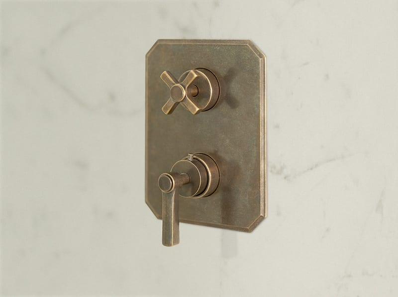Arte Concealed Thermostatic Shower Mixer in Aged Brass