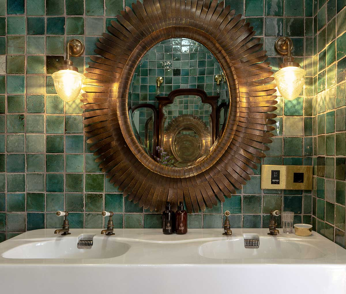 St James basin pillar taps with levers in an aged brass finish at Akademie Street Boutique Hotel by Victorian Bathrooms